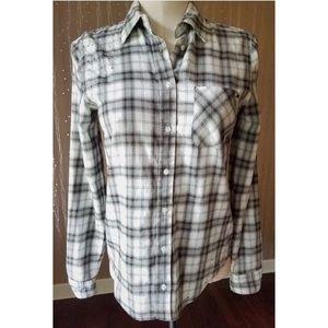 VS PINK Gray Rhinestone Plaid Button Down Shirt